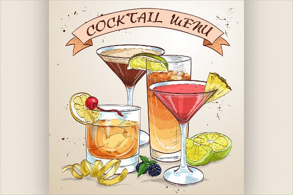 drawing cocktail menu template