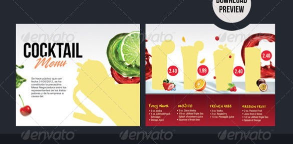 liquor cocktail menu template