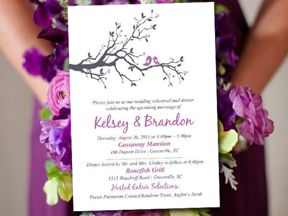 love bird branch rehearsal dinner invitation
