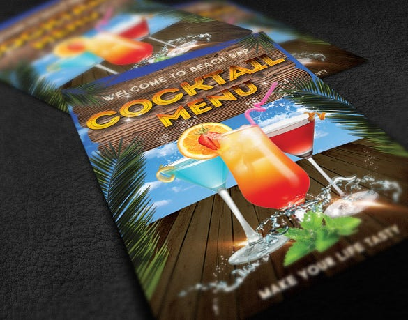 soft drinks cocktail menu template
