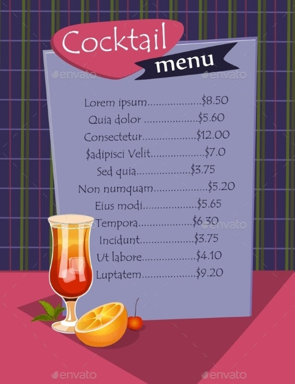 designed cocktail menu template