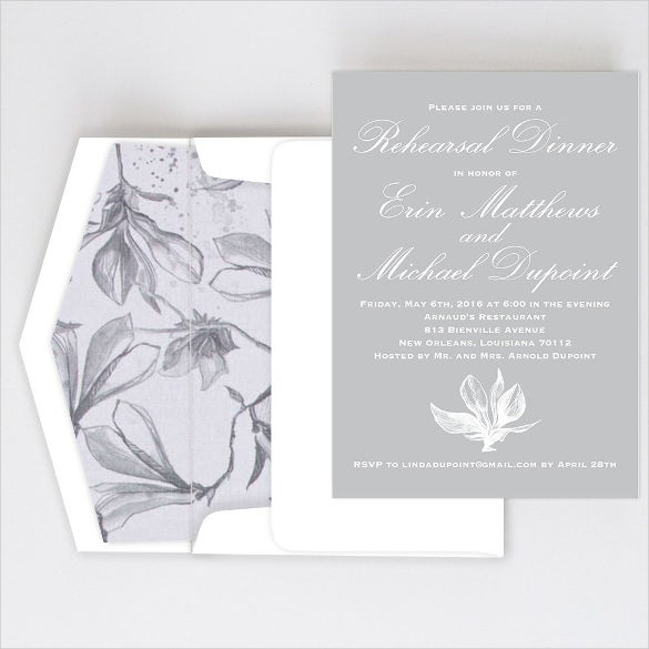 white flower dinner invitation template
