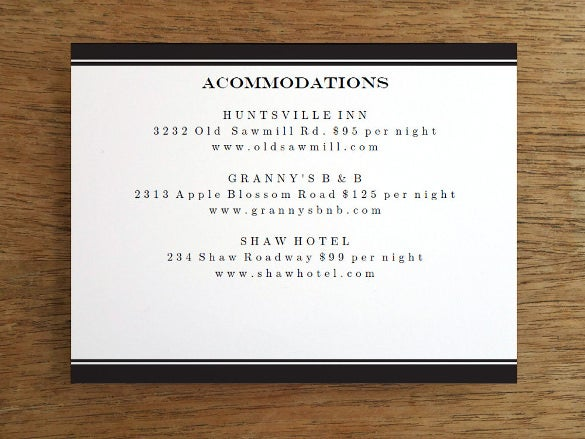 blank info dinner invitation card