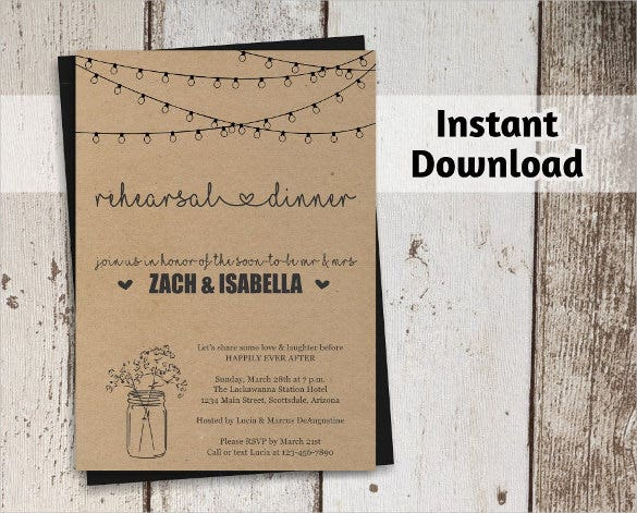 Dinner invitation template 44 free psd vector eps ai for Free rustic wedding invitation templates