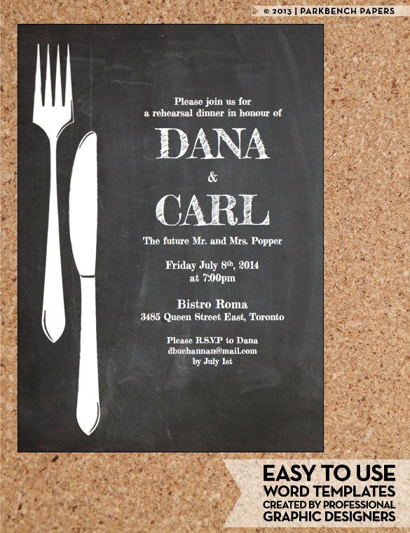 chalkboard dinner invitation template1