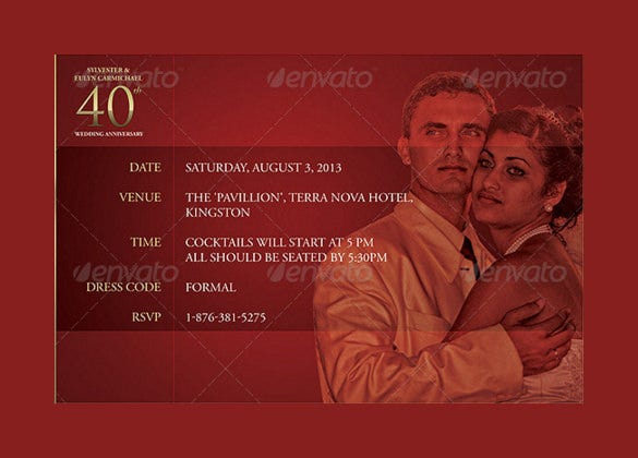formal anniversary invitation psd template download