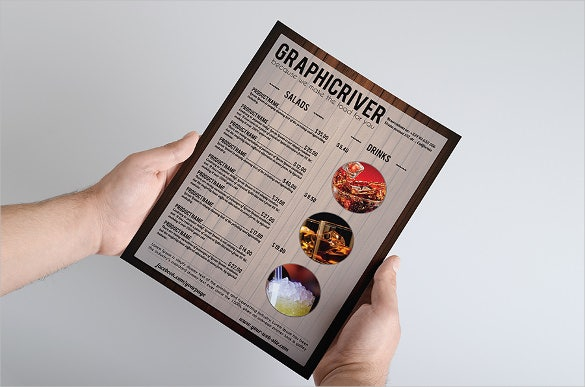 wooden cocktail menu template