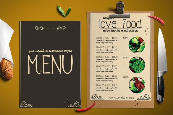 food cocktail menu template