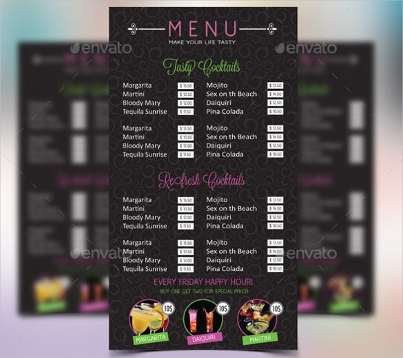 nightclub cocktail menu template