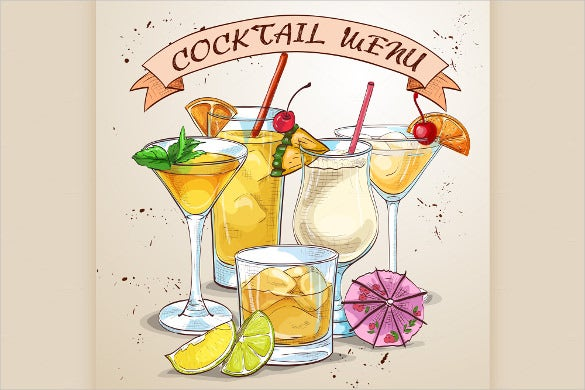 Cocktail Menu Template   Free Psd Eps Documents Download