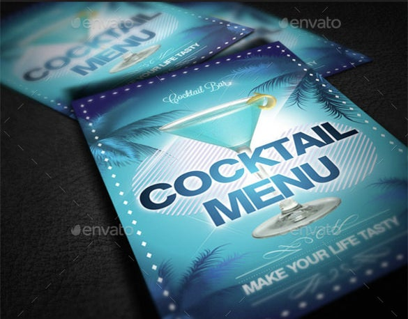 alcohol cocktail menu template