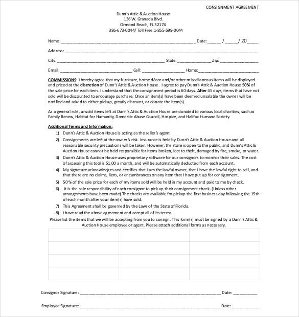Consignment Agreement Templates  Free Sample Example Format