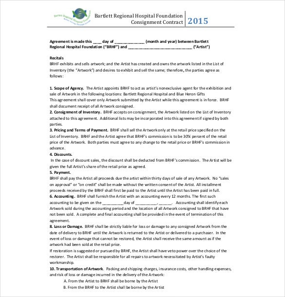 Example Hospital Foundation Consignment Agreement Template  Free Consignment Contract Template
