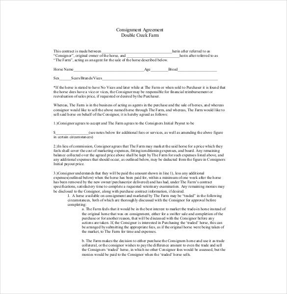 13 consignment agreement templates free sample example for Farm partnership agreement template
