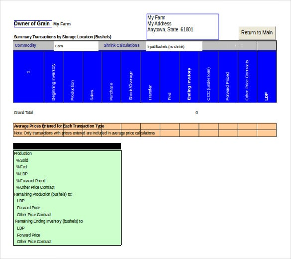 excel grain inventory management template