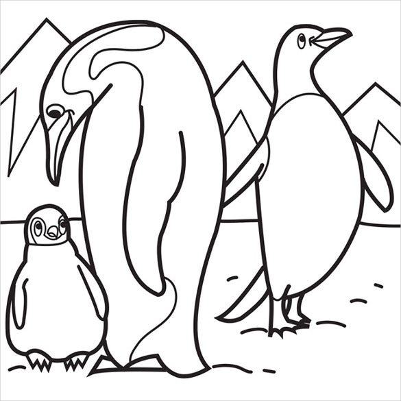 penguin with baby coloring page