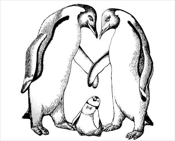 penguin line art template