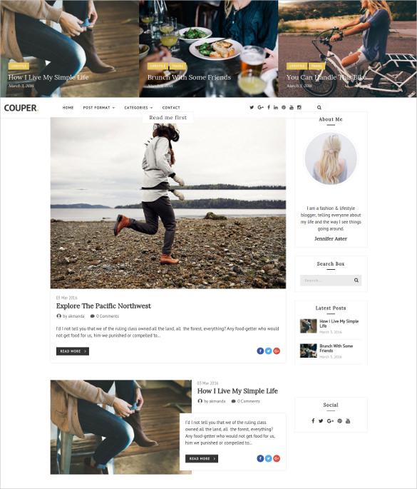 responsive personal blog tempalte couper