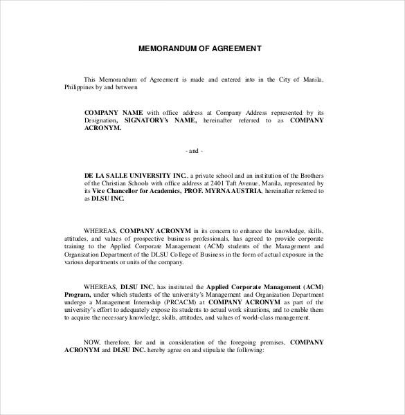 Memorandum Of Agreement Templates  Free Sample Example