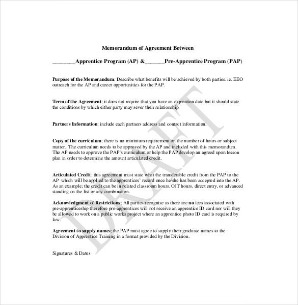 10 Memorandum of Agreement Templates Free Sample Example – Training Agreement Template