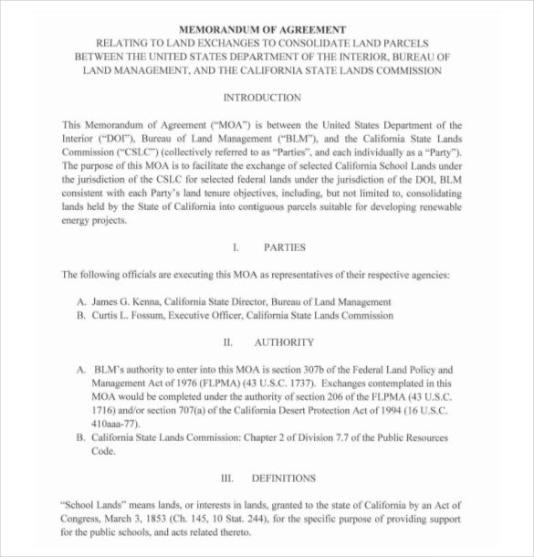 Example Memorandum Agreement Template