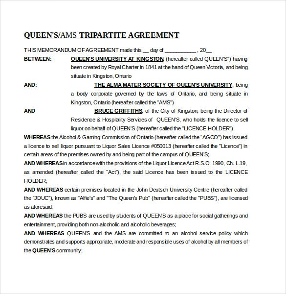 10 Memorandum of Agreement Templates Free Sample Example – Contract Template Between Two Parties