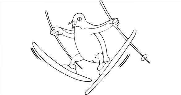 penguin coloring page template