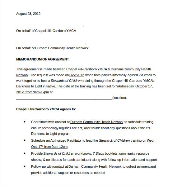 10 Memorandum of Agreement Templates Free Sample Example – Sample Agreements Between Two Parties