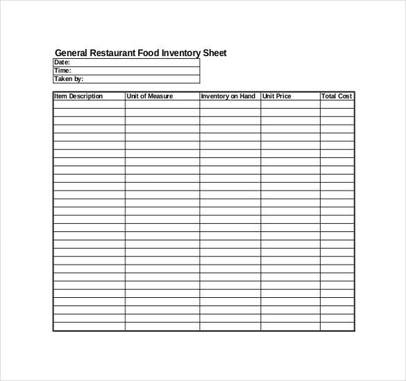 Restaurant Inventory Template - 22+ Free Word, Excel Documents