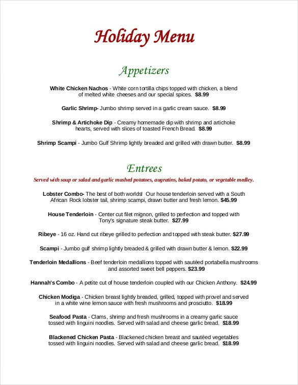 tonys on main holiday menu free pdf format template download