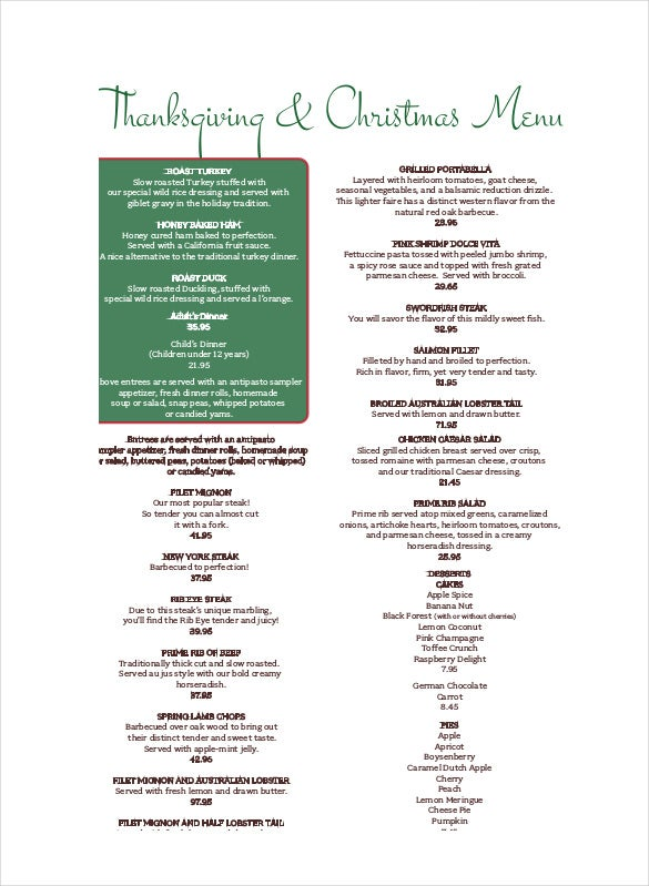 free pdf holiday menu template download