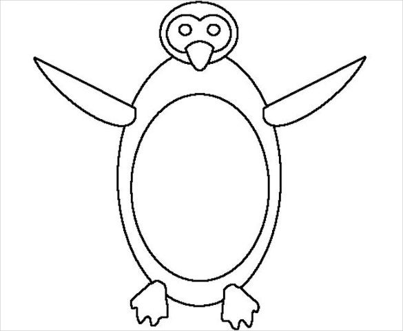penguin outline template