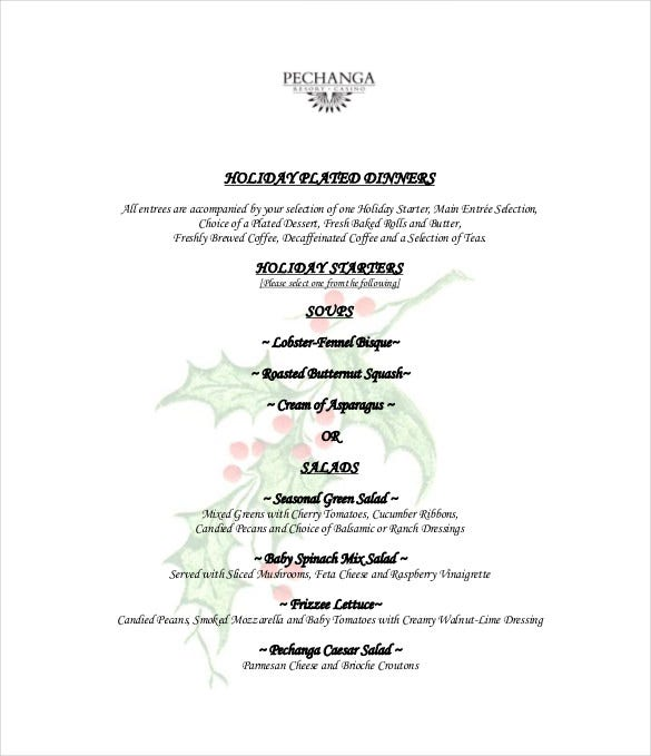 holiday menu free pdf template download