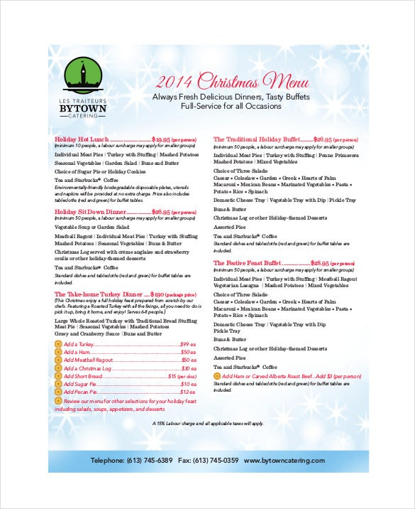holiday menu free pdf template