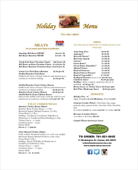 menu for holiday pdf template download