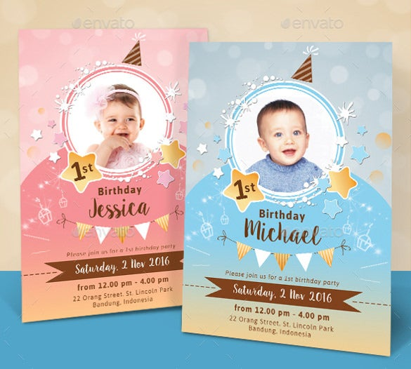 sparkling kids birthday invitation psd template download