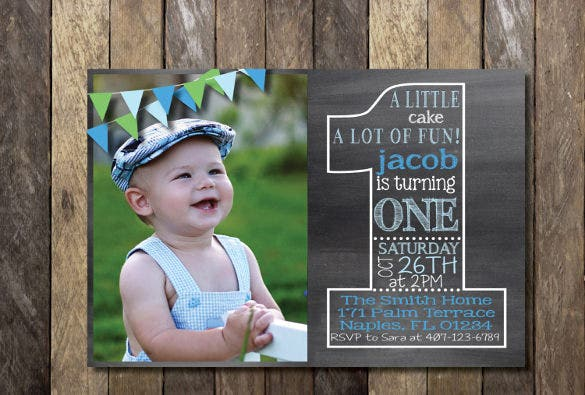 chalkboard first birthday invitation template download