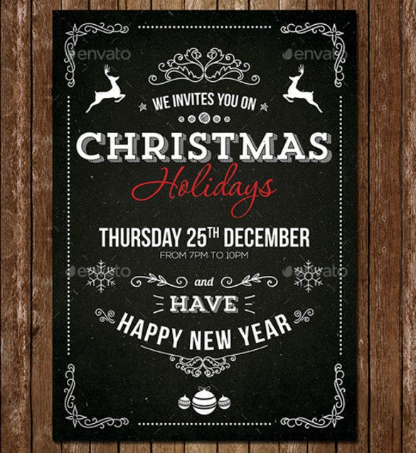 vintage christmas invitation psd template