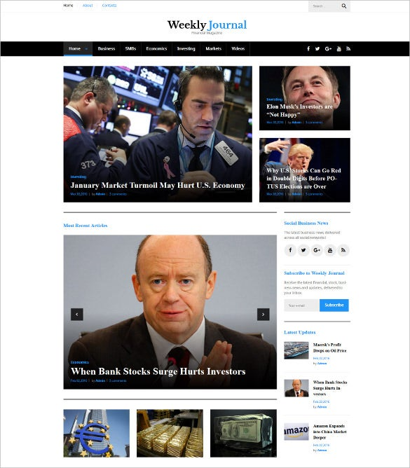 weekly journal financial magazine wordpress blog theme