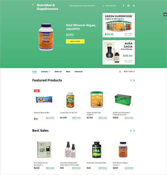 nutrition store responsive virtuemart blog template