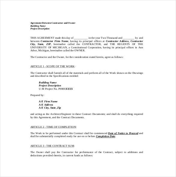 Example Contractor U0026 Owner Contract Agreement Template