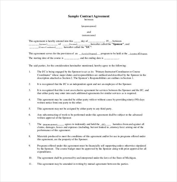Contract Agreement Templates  Free Sample Example Format
