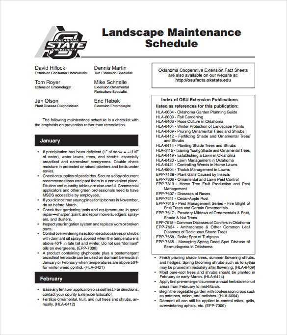landscape maintenance schedule pdf template free download