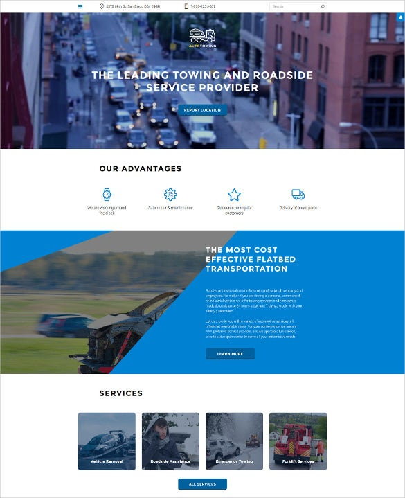 auto towing responsive joomla blog template