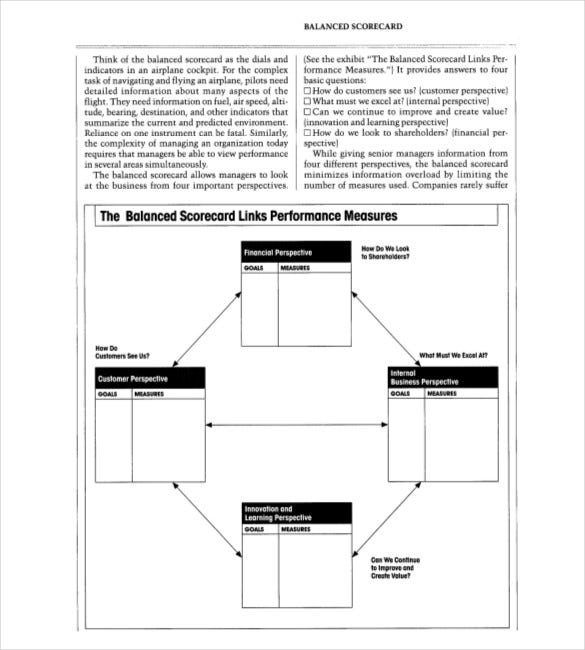 balanced scorecard key performance indicators