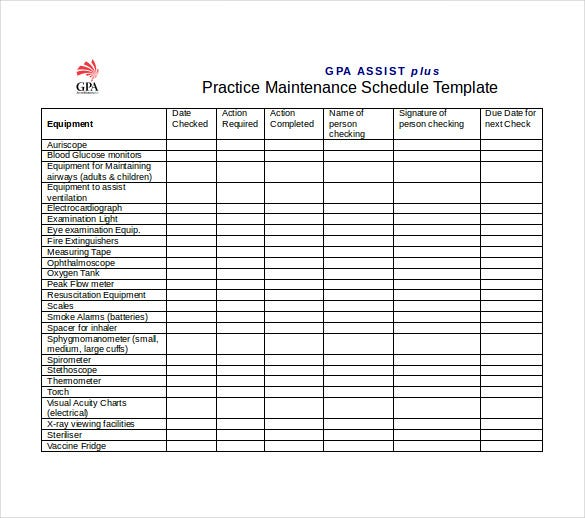 gpa practice maintenance schedule word template free download