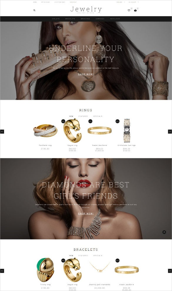 jewelry showcase opencart php template