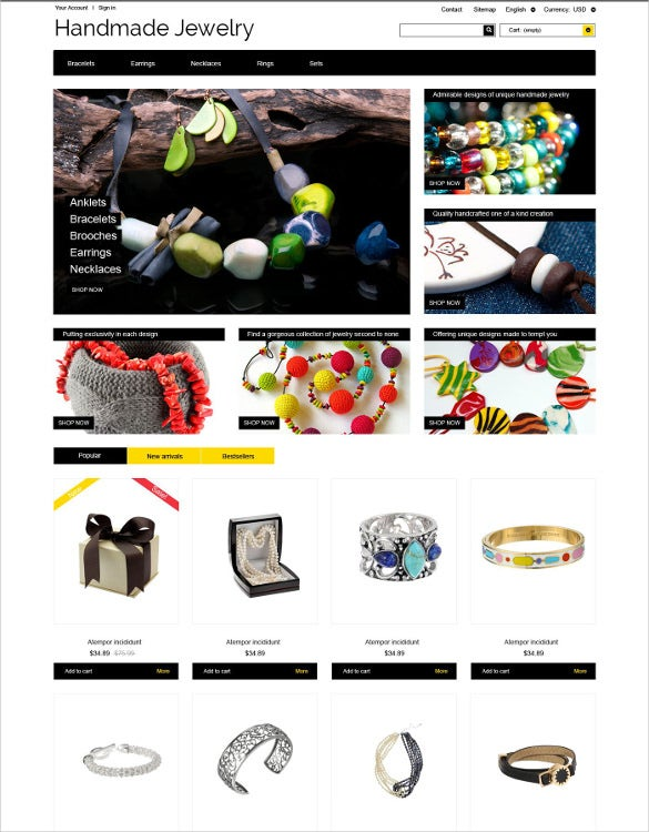 handmade jewelry prestashop php theme