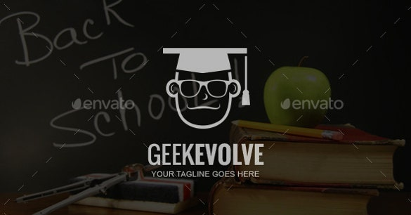 geek school logo template