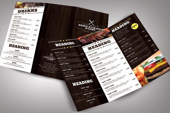 Restaurant menu templates free sample example